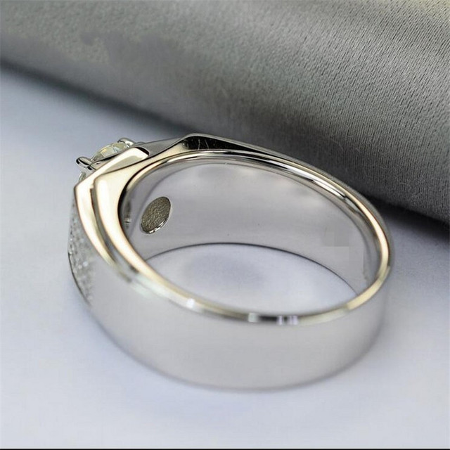 Real Solid 100% 925 Sterling silver Rings Wedding Jewelry for Men Luxury Round cut 1.2ct Simulated Diamond Ring US Size 8-13