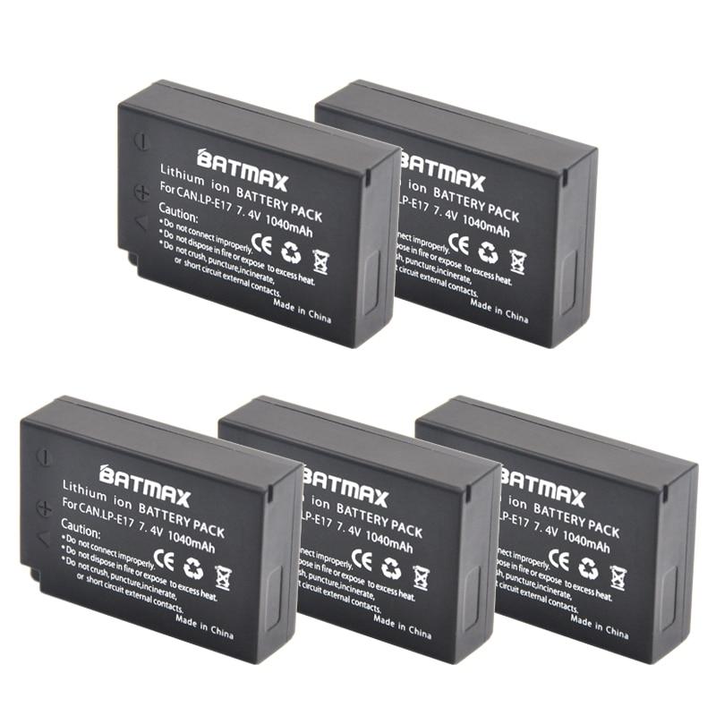 5-Pack LP-E17 LPE17 LP E17 Rechargeable Batteries(1040mAh) for Canon For EOS M3 M5 750D 760D T6i T6s 800D 8000D Kiss X8i