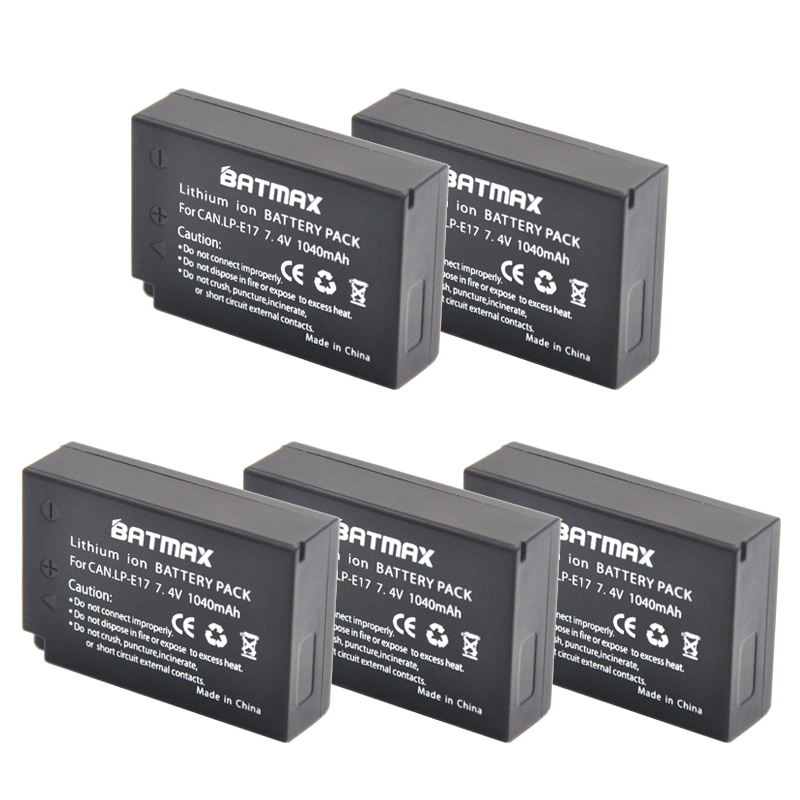 5-Pack LP-E17 LPE17 LP E17 Rechargeable Batteries(1040mAh) for Canon For EOS M3 M5 750D 760D T6i T6s 800D 8000D Kiss X8i 4x lp e17 lpe17 lp e17 camera batteries lcd usb dual charger for canon eos m3 m5 m6 rebel t6i t6s t7i 750d 760d 8000d kiss x8i