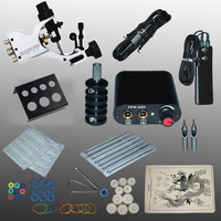 Professional 1 Set 90 264V Complete Equipment Tattoo Machine Gun Power Supply Cord Kit Body Beauty