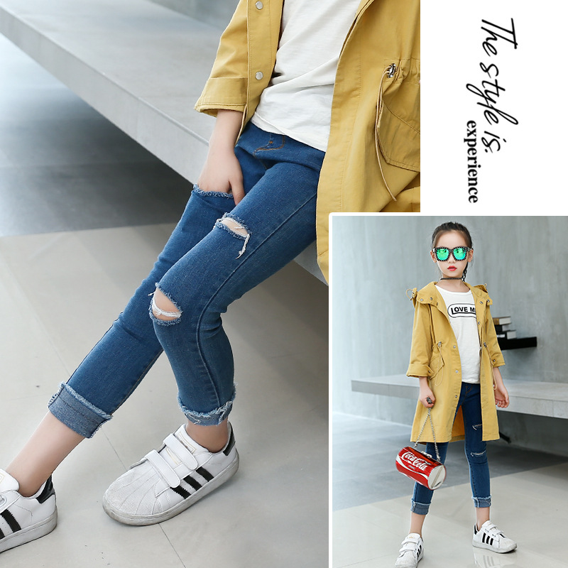 Kids Girls Skinny Jeans Autumn Casual Ripped Pants Teenager Solid Denim Trousers Fashion Broken Hole Jeans for Girls 13 Years
