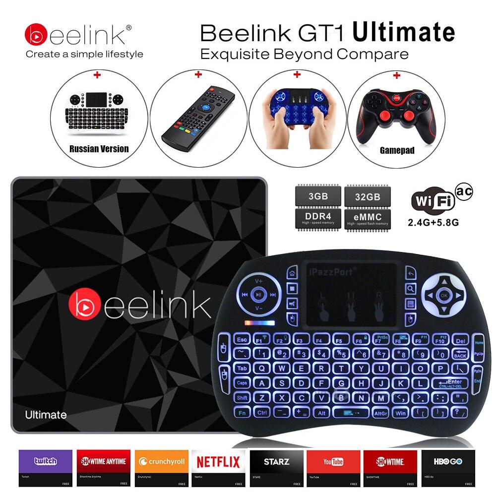 Beelink GT1 Ultimate ТВ коробка 3g 32 г Amlogic S912 Восьмиядерный Процессор DDR4 2,4 г + 5,8 Г двойной wi-Fi Android 7,1 Декодер каналов кабельного телевидения Media Player X92