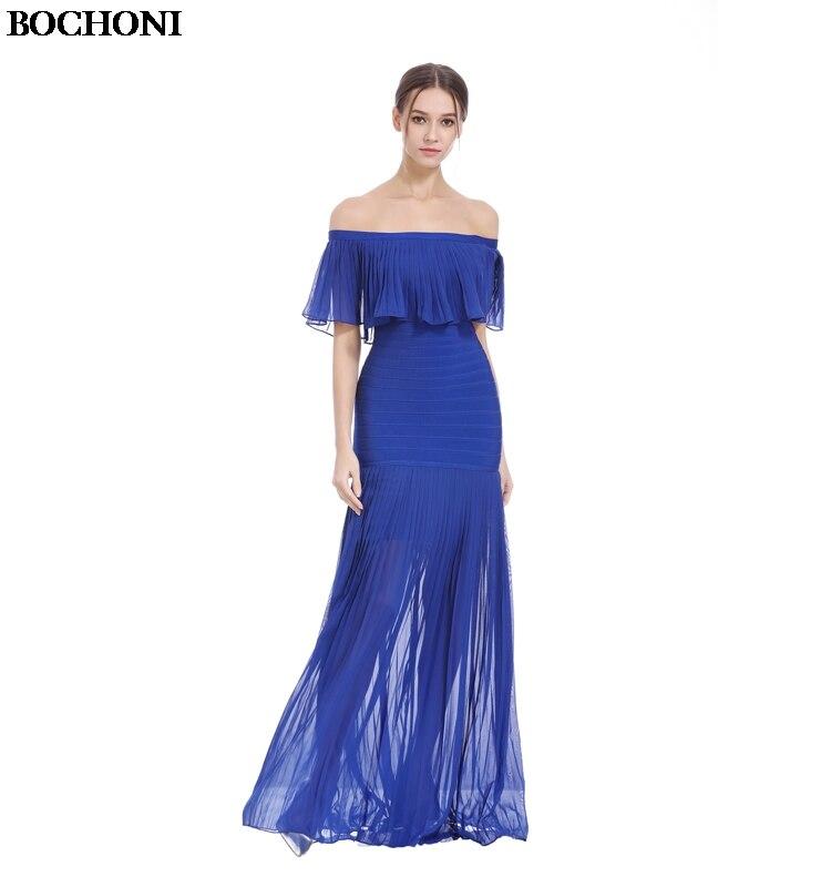 BOCHONI 2018 New temperament ladies banquet dress was thin word shoulder thin mesh custom party dress