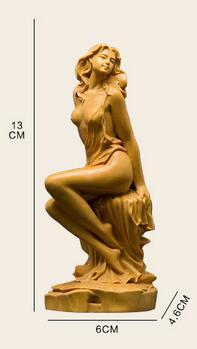 Lucky Arts statues Hand engraving Artwork Boxwood carving wood carving crafts hand pieces beauty god characters Home Furnis