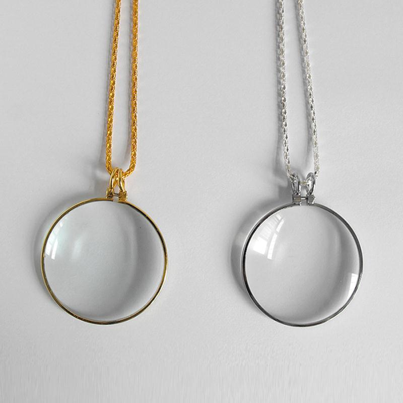 Decorative monocle necklace with 5x magnifier magnifying glass decorative monocle necklace with 5x magnifier magnifying glass pendant gold silver plated chain necklace for women jewelry in pendant necklaces from jewelry aloadofball Gallery