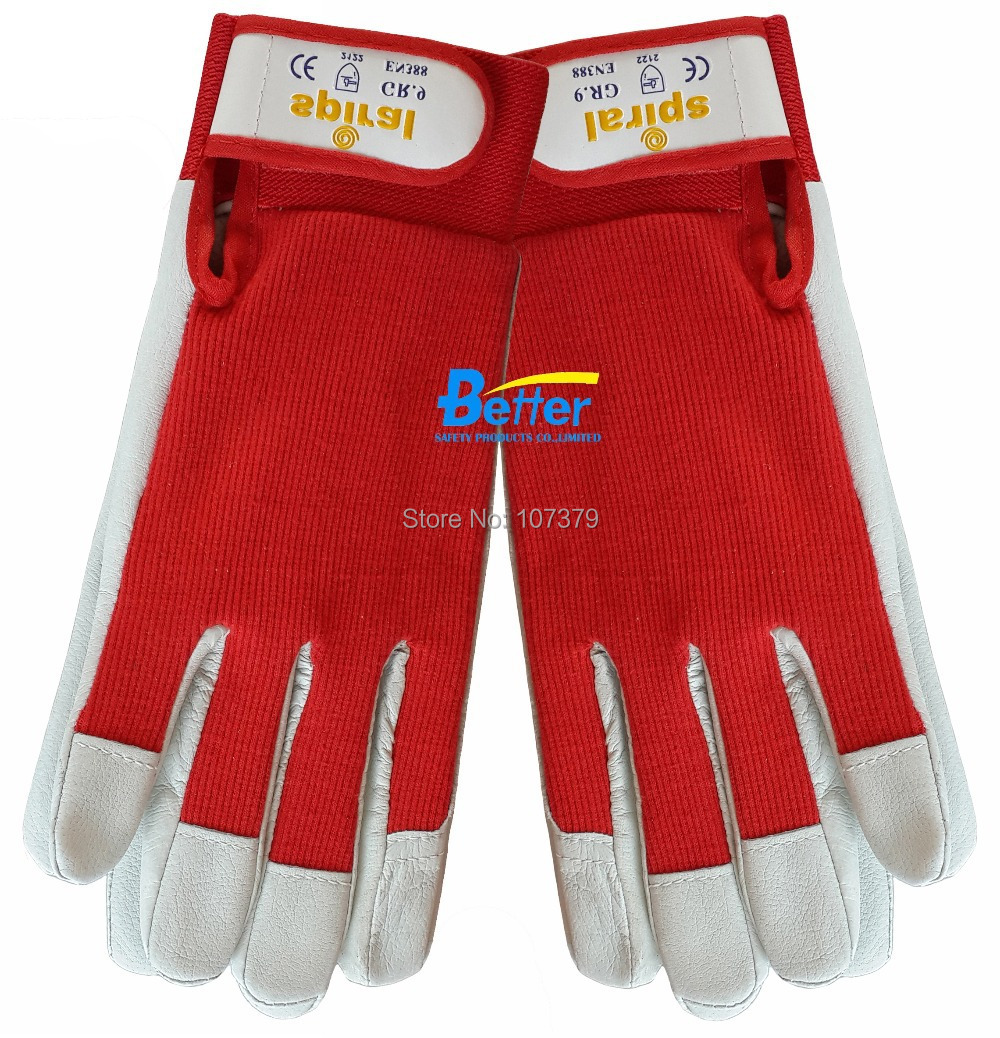 Leather work gloves china - Leather Safety Glove Pig Grain Leather Work Glove China Mainland