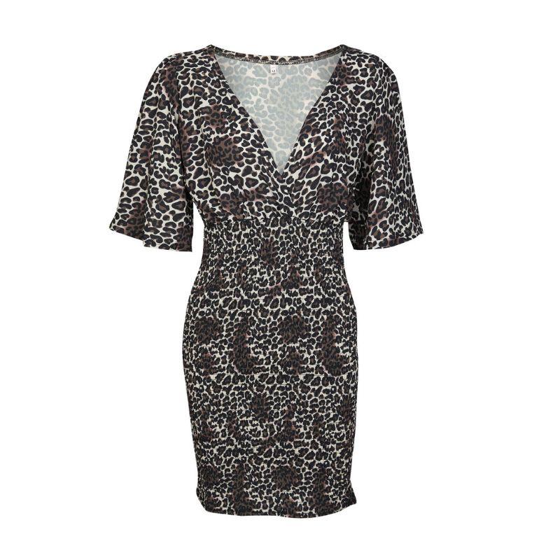 Women Ladies Leopard Print V Neck Short Sleeve Party Holiday Bodycon Wrap Mini Dress