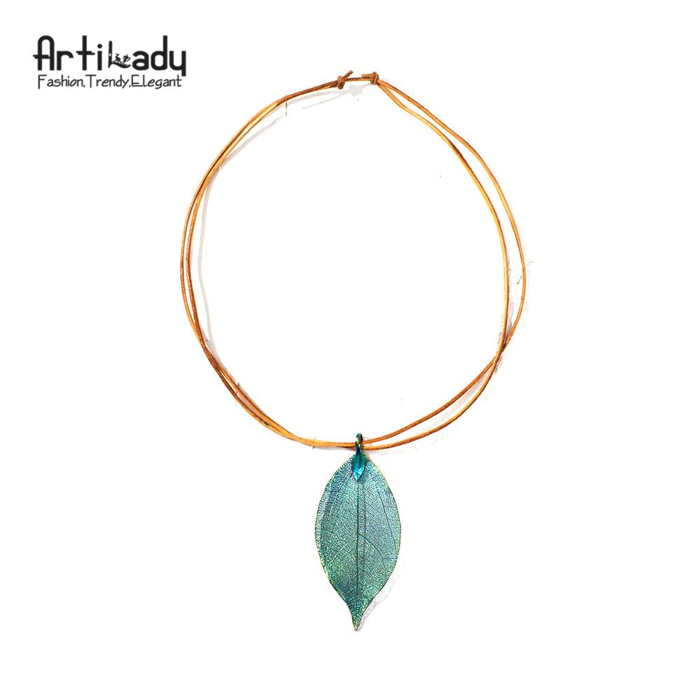 Artilady 6 options real leaf pendant necklace long length ges