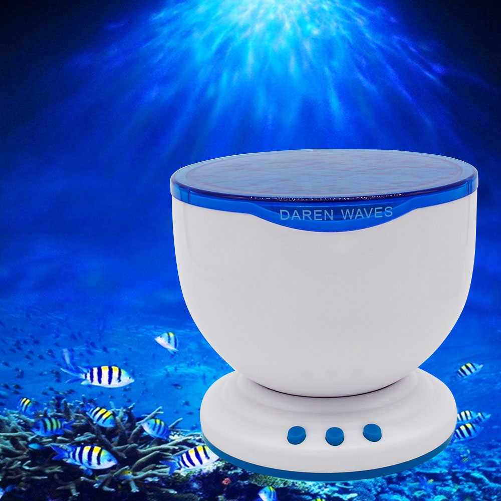 [DBF]Ocean Projector Night Light with Music Player,Blue Sea Daren Waves Romantic Aurora Master LED Light+Mini Portable Speaker удилище hoxwell 3 6m 100 180g