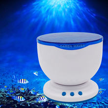 [DBF]Romantic Aurora Master Night Light Projector Ocean Blue Sea Waves Projection Lamp With Mini Speaker Ocean Waves Night Light(China)