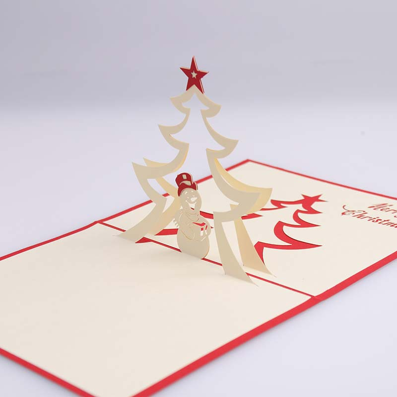 Christmas Tree Snowman 3D Laser Cut Pop Up Paper Handmade Postcards Custom Greeting Cards Gifts Free Shipping In Invitations From Home