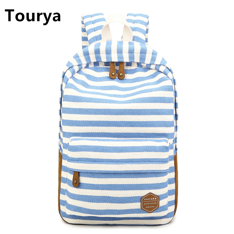 Tourya Casual Bag School Backpacks Cute striped printing Canvas For Teenage Girl Women Laptop Backpack Shoulder