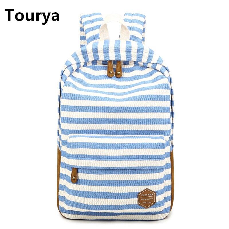 Tourya Casual Bag School Backpacks Cute striped printing Canvas For Teenage Girl Women Laptop Backpack Shoulder Travel Rucksack  texu floral canvas bag backpack school for teenager girl laptop bag printing backpack women backpack khaki