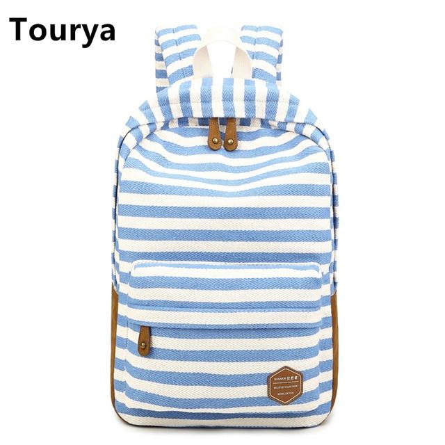 b06720775fc2 Tourya Casual Bag School Backpacks Cute striped printing Canvas For Teenage  Girl Women Laptop Backpack Shoulder