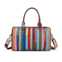 YISHEN Fashion Striped Patchwork Women Shoulder Crossbody Bags Genuine Cow Leather Female Handbags Colors Women Totes