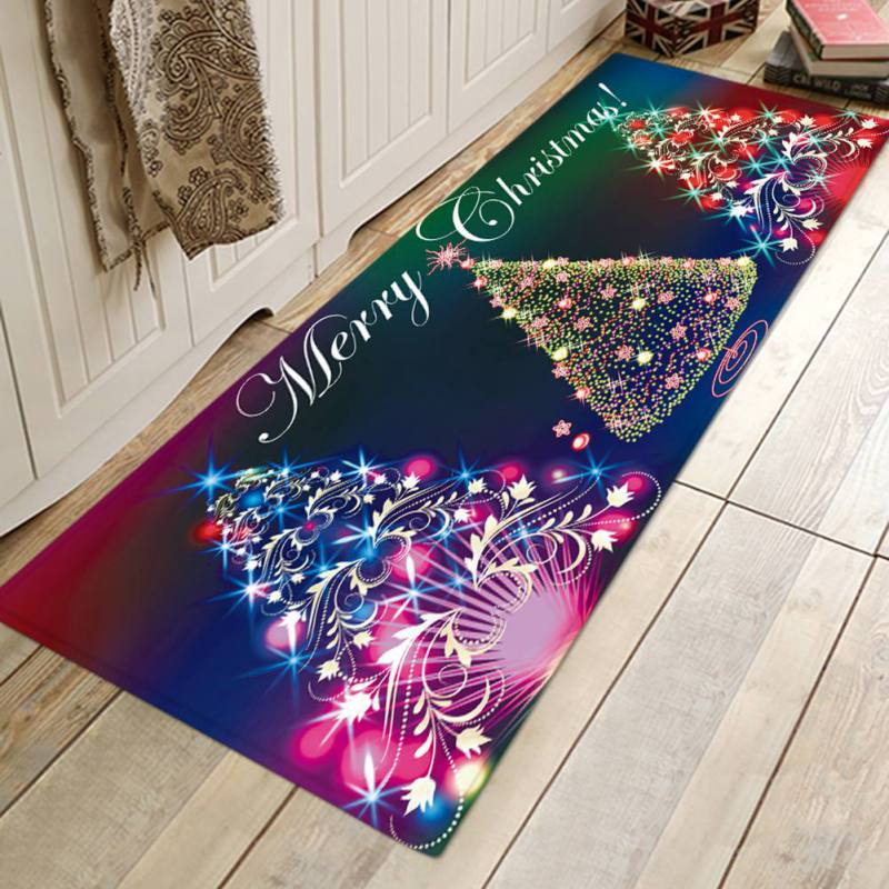 Christmas Rugs Flannel Fabric Non Slip Rubber Backing Absorbent Bath
