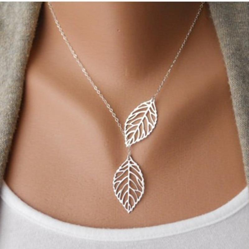 NK607 новинка, Панк мода, минималистичный кулон в виде двух листьев, ожерелья для ключиц для женщин, ювелирное изделие, подарок, кисточка, летняя пляжная цепочка, колье - Окраска металла: silver 607