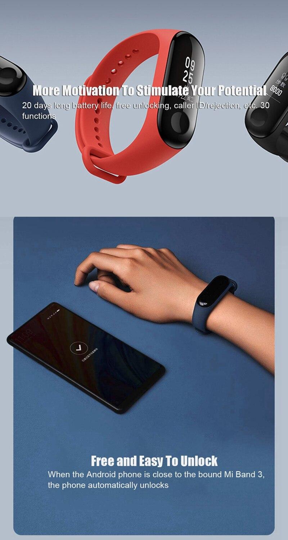 "Original Mi Band 3 Fitness Tracker Smart Bracelet 0.78""Color Screen 5ATM Waterproof Heart Rate Monitor Global Smartband In Stock 28"