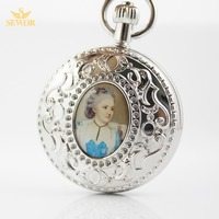 2017 SEWOR Top Brand Fashion Noble Women Pattern Sliver Moonphase Pocket Watch C213