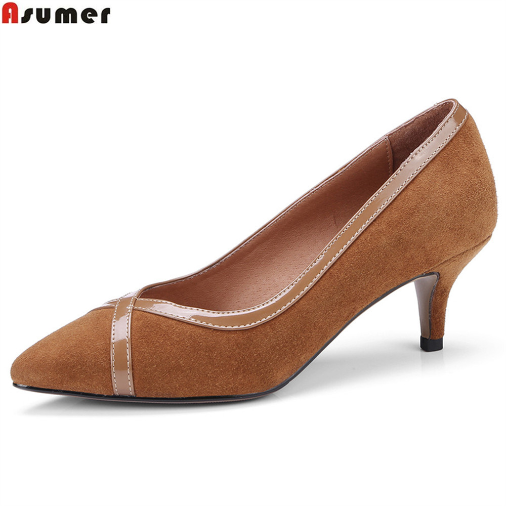 ASUMER black brown fashion spring autumn new ladies pumps prom shoes shallow elegant women suede leather high heels shoes siketu 2017 free shipping spring and autumn women shoes fashion sex high heels shoes red wedding shoes pumps g107
