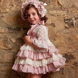 2019 Summer Spanish Vintage Court Style Girl Dress Lace Princess Dress Bithday Party Dress High-end Kids Clothes Vestidos Y1177