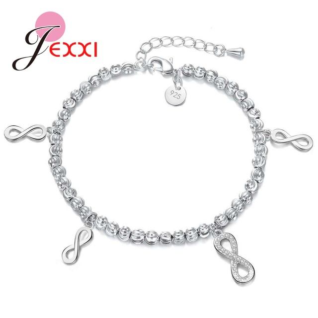 Jei Fashion Figure 8 Style Bracelets 925 Pure Sterling Silver Rhinestone Best Gifts For Women Wife Anniversary Pretty Hot