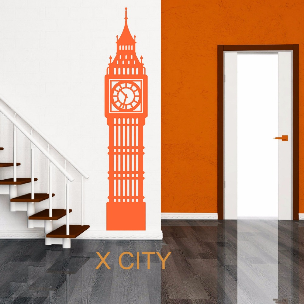 Sticker wall clock uk - Big Ben London Clock Uk Landmark Scenery Wall Sticker Vinyl Art Window Decal Door Stencil Room