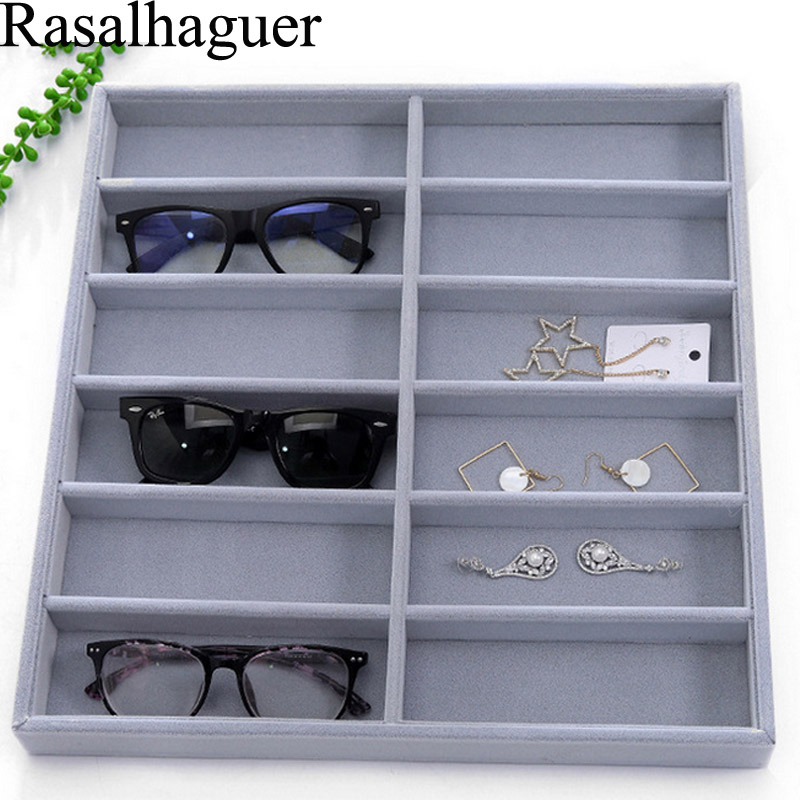 Luxury Ice Gray 12 Grids Sunglasses Display Box Sunglasses Display Glasses Display Props Jewelry Organizer Tray Fashion Cases