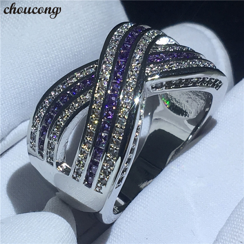 choucong Fashion Cross X Ring AAAAA Zircon Cz White Gold Filled Anniversary Wedding Band Rings for women men Finger Jewelry