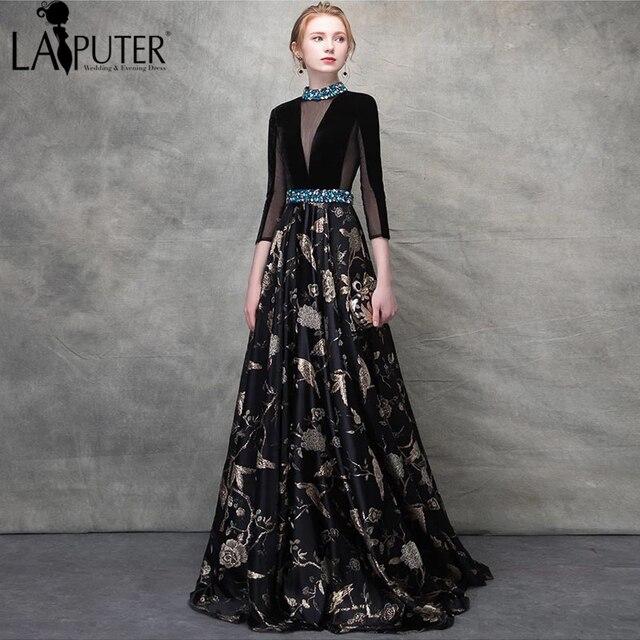 ad5c2f1114 US $165.0 |Laiputer Flower Printed Maxi Dress Women A line Waist Beading  High Collar Three Quarter Floor Length Formal Evening Dresses -in Evening  ...