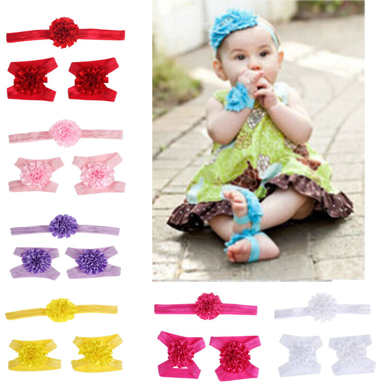 Neweat 3pcs/lot Cute Foot Flower Barefoot Sandals+Headband Baby Set Solid Color Baby Elastic Hair Bands Infant Kids Headbands