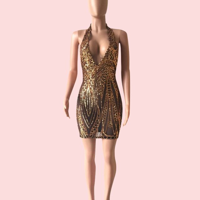 Sexy Gold Sequin Backless Mini Dress