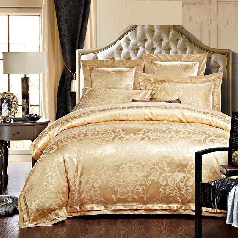 Gold white blue jacquard silk bedding set luxury 4 6pcs for Matching bedroom and bathroom sets