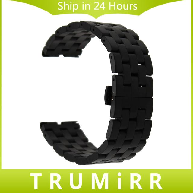 22mm 5 ponteiro de aço inoxidável watch band + ferramenta para motorola moto 360 1 1st gen 2014 borboleta bracelete de pulso cinto pulseira