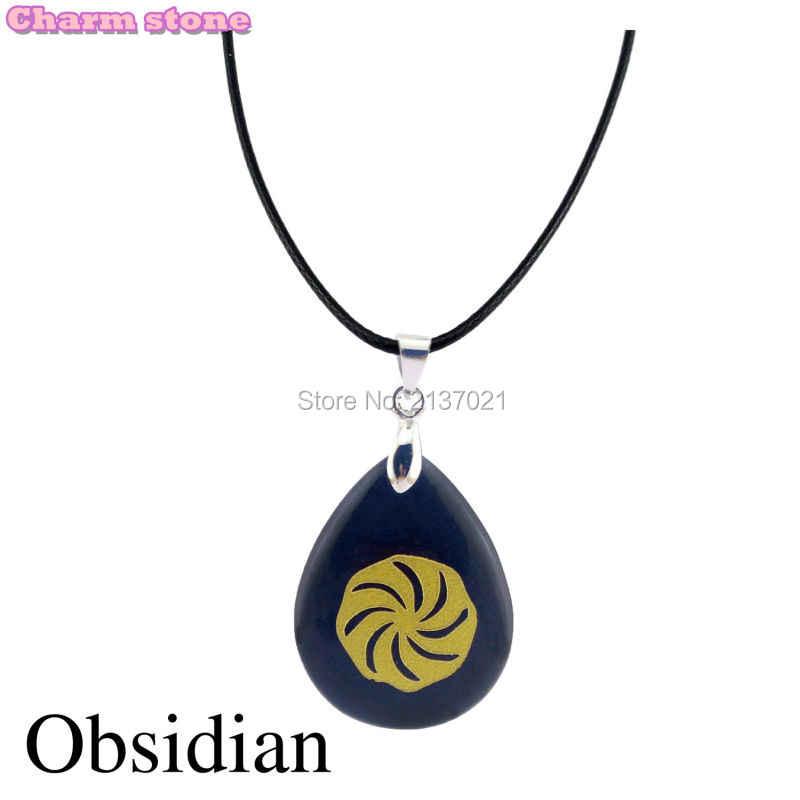 Nhà sư mark Vàng helix Cối Xay Gió Tôn Giáo vòng cổ chữ tượng hình Obsidian drop shape thủ công Tranh bánh xe choker vòng cổ