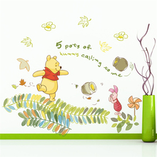 disney winnie pooh 40*60cm wall stickers for kids rooms home decor cartoon animals zoo decals diy mural art pvc posters