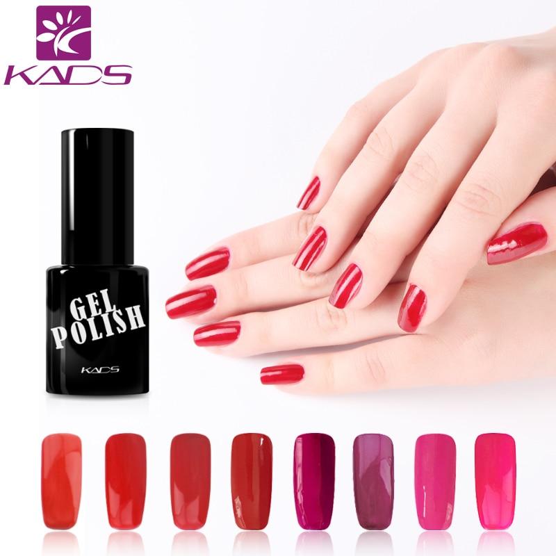 KADS Red Color Set UV Gel Nail Polish Soak Off Gel Polish Nail Varnish DIY For