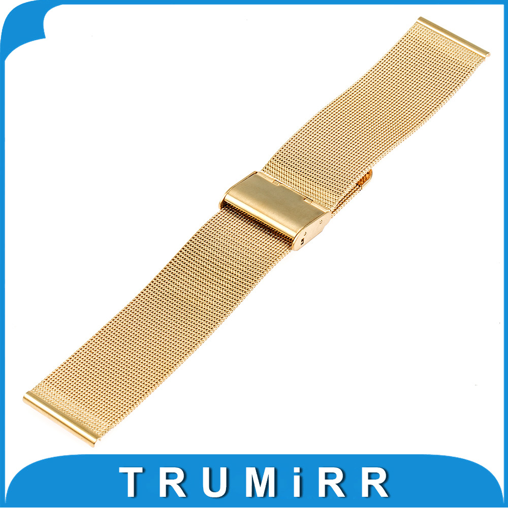 20mm Milanese Watchband Stainless Steel Watch Band Bracelet Strap for Pebble Time Round 20mm Bradley Timepiece Black Gold Silver neway stainless steel milanese watch band strap wrist watchband wristwatch buckle black rose gold silver 18mm 20mm 22mm 24mm