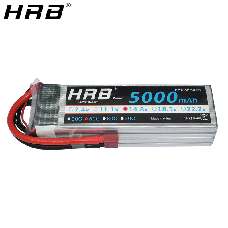 HRB <font><b>4S</b></font> 14.8V Lipo Battery <font><b>5000mah</b></font> T Deans XT60 TRX XT90 EC5 For MultiCopter Helicopter Airplane Off-Road Car Truck Boat RC Parts image