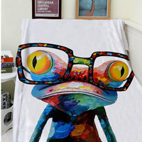 Blanket Comfort Warmth Soft Plush Easy Care Machine Wash Abstract Oil Colorful Frog Wear Glasses Sofa