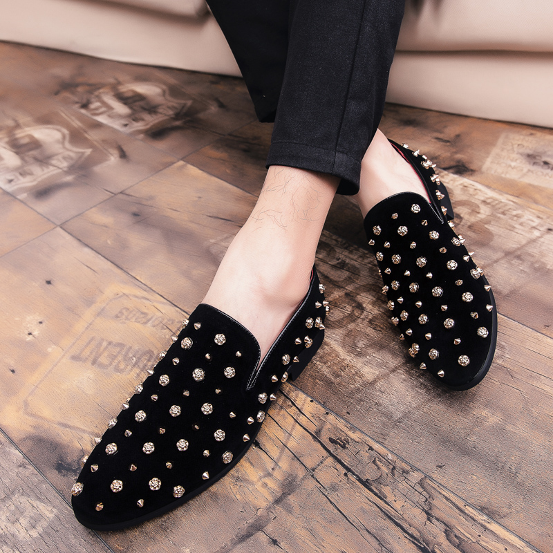 HTB19nNAXUzrK1RjSspmq6AOdFXa8 New Fashion Gold Top and Metal Toe Men Velvet Dress shoes Italian men's dress shoes Handmade Loafers