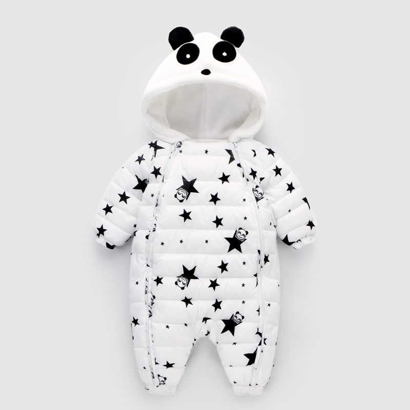 2018 Winter Panda Baby Rompers Overalls Bodysuit Jumpsuit Newborn Girl Boy Duck Down Snowsuit Kids infant Snow Wear