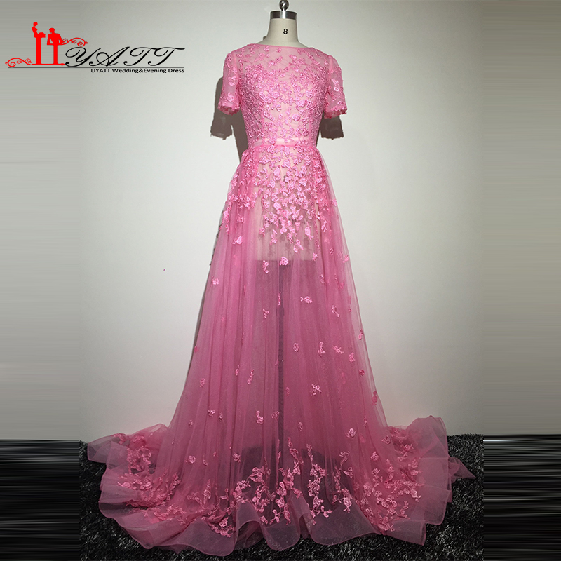 Real Picture 2016 Sexy See Through Short Sleeves Hot Pink Appliques Lace Elegance Arabic Style Evening Prom Dresses Dress Liyatt image