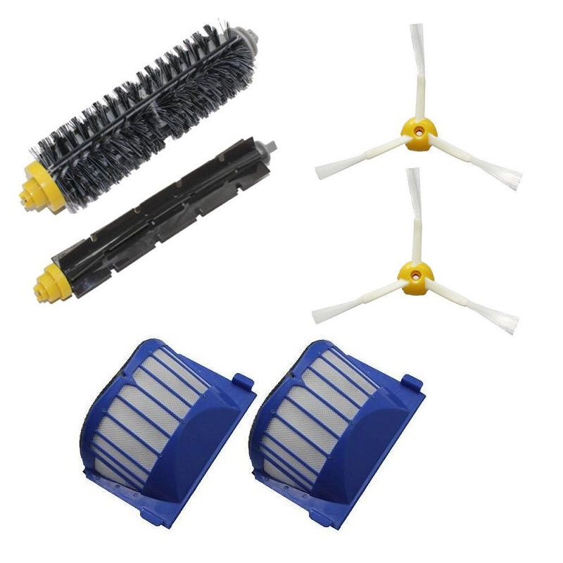 цены на High Quality Can Track Bristle & Flexible Beater 2 Armed Brush & 2 Aero Vac Filter For iRobot Roomba 600 Series 620 630 650 660 в интернет-магазинах