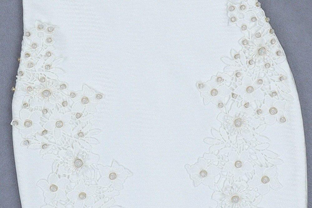 Halinfer 2018 новое зимнее женское сексуальное обтягивающее платье белое с круглым вырезом, украшенное бисером, вечерние мини платья beadag - 6