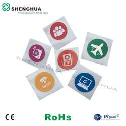 6 шт./лот ISO 14443A NFC стикеров Ntag203 N tag213 этикетка hf rfid тег Водонепроницаемый печать логотипа для rfid ридер для смартфона