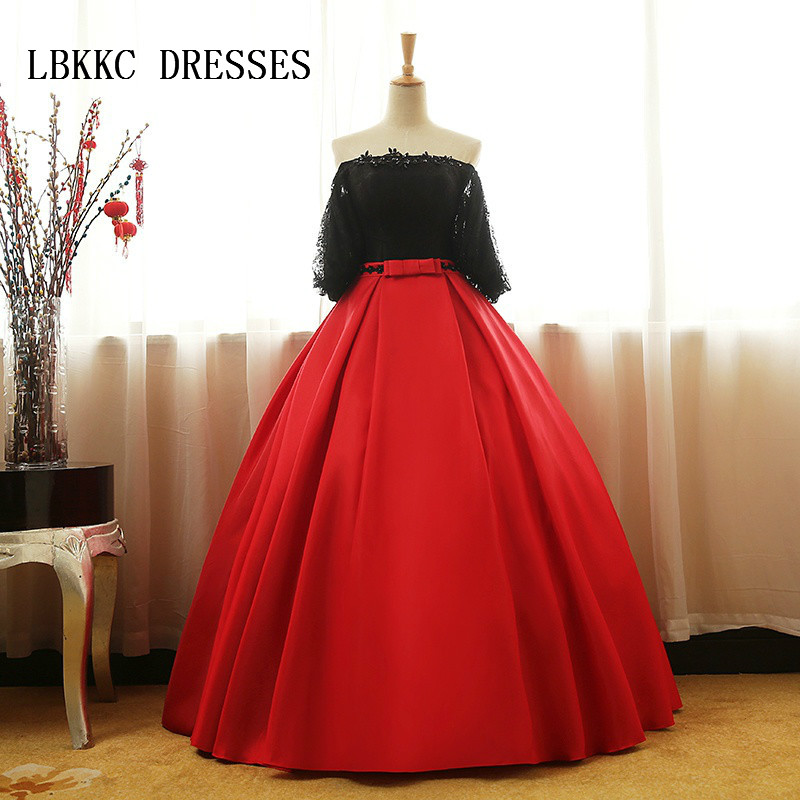 Red And Black Gown: Red And Black Ball Gown Quinceanera Dresses Half Sleeves