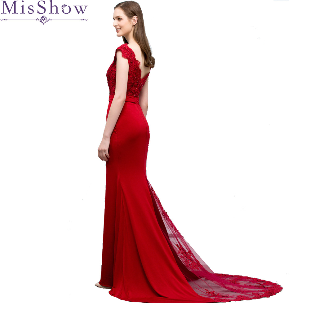 New Burgundy Evening Dress Sleeveless Long Mermaid V Neck Backless Sweep Train Lace Wedding Party Formal Trumpet Evening Dresses