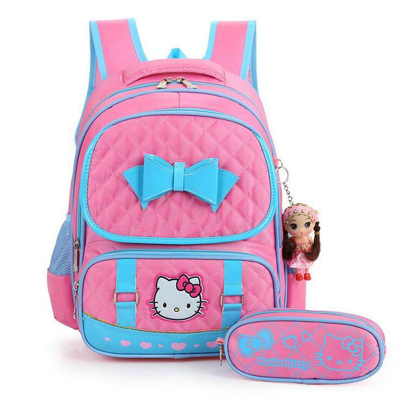 Fashion Cute Hello Kitty Backpacks For Children Girls Princess School Bag Nylon Waterproof Kids Satchel Student Bow Schoolbag hello kitty girls big dark pink hair bow fuzzy slippers