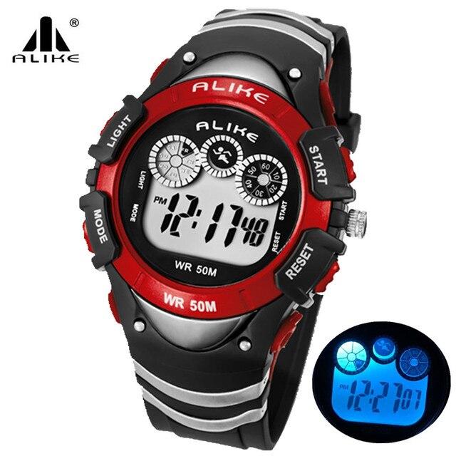 4769e85dba2 Alike Children Watch Outdoor Sports Kids Boy Girls LED Digital Alarm  Stopwatch Waterproof Wristwatch Children s Dress Watches